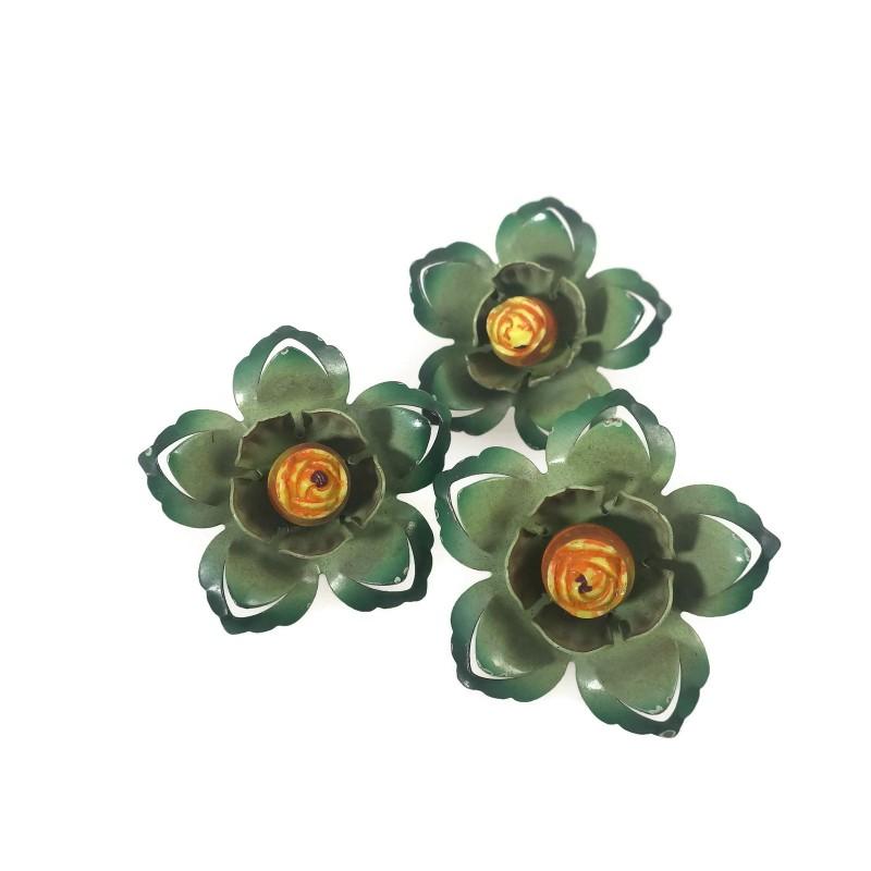 Green Enamel Flower Vintage Push Pin Curtain Tie Backs Set