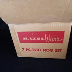 Like New 7-Pc Hazel Atlas Hazel Ware Jingle Bells Milk Glass Egg Nog Set MIB