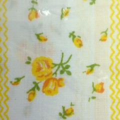 1960s Vintage Flat Full Percale Sheet - Yellow Roses with White Lace Trim