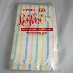Pair of Vintage Fine Muslin Pastel Stripe Pepperell Pillowcase - NIP