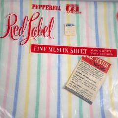 Vintage 1950s Fine Muslin Pastel Stripe Pepperell Fitted Twin Sheet