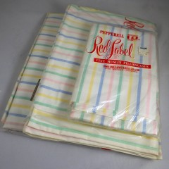 1950s NIP Vintage Fine Muslin Pastel Stripe Pepperell Fitted Twin Sheet