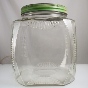 Vintage Square Glass Hoosier Cabinet or Pantry Storage Jar with Ribbed Edges