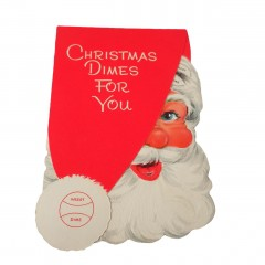 Gibson 1950s Vintage 5-Dime Money Santa Face Christmas Card - Unused