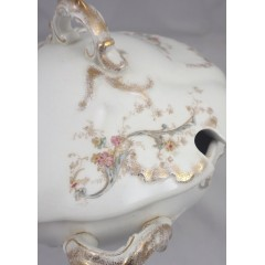 Antique Bishop & Stonier Footed Covered Dish / Tureen Wild Flower Floral Pattern