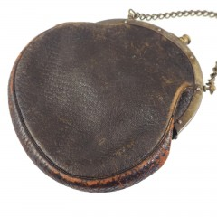 Antique 1900 Leather Victorian Chatelaine Purse with Silver Clip
