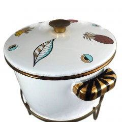 Georges Briard Ambrosia Mid-Century Enamelware Chafing Pot and Lid