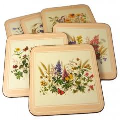 Pimpernel Field Flowers Coasters - Vintage Set of 6