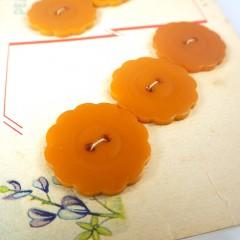 Butterscotch Bakelite Blue Bonnet Pearlite Vintage Buttons - Set of 6 on Card