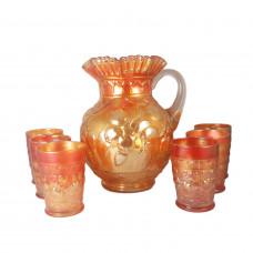 7-Pc Fenton Golden Marigold Carnival Glass Apple Tree Pitcher Tumbler Set