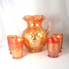 7-Pc Fenton Golden Marigold Carnival Glass Apple Tree Pitcher Tumbler Set