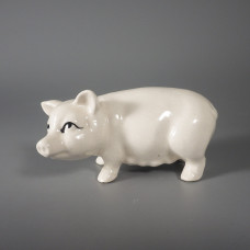 White Miniature Pottery Pig Figurine - Quality Detail