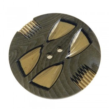 Three-Layer Wood Grain Carved Vintage Celluloid Wafer Button