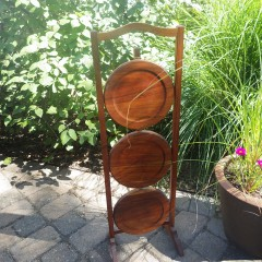 Vintage 3-Tier Folding Wood Pie Pastry Stand