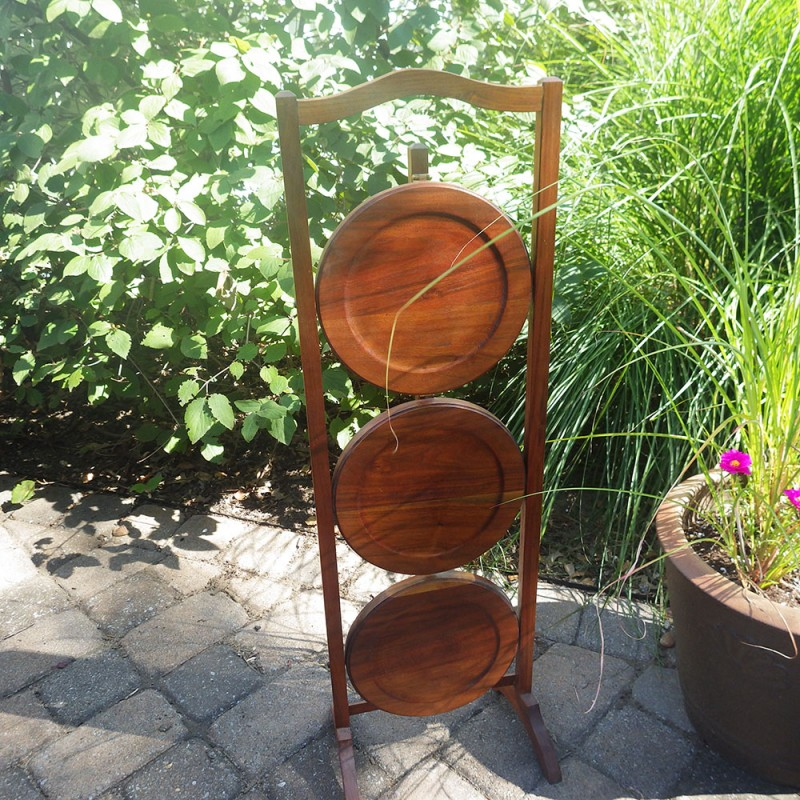 3 Tier Vintage Folding Wood Pie Pastry Stand