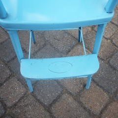 Blue 1950s Metal Amsco Vintage Doll High Chair with Beaded Tray