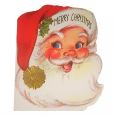 Vintage Mid Century 50s Full Santa Face Merry Christmas Greeting Card