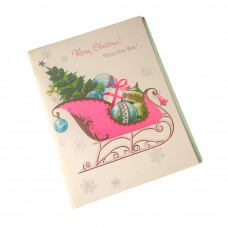Gibson Merry Christmas Greeting Card with Honeycomb Tissue Tree