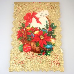 Gold Vintage Hallmark Christmas Greeting Card with Die Cut Lace Doily Cover - Unused