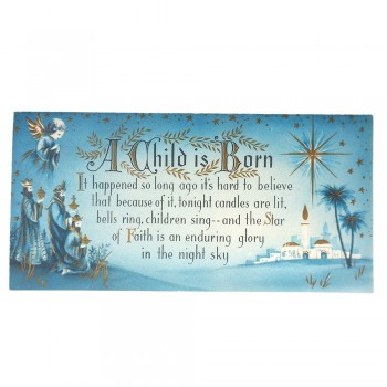 Christmas Card Vintage Mid Century Three Wise Men Child is Born