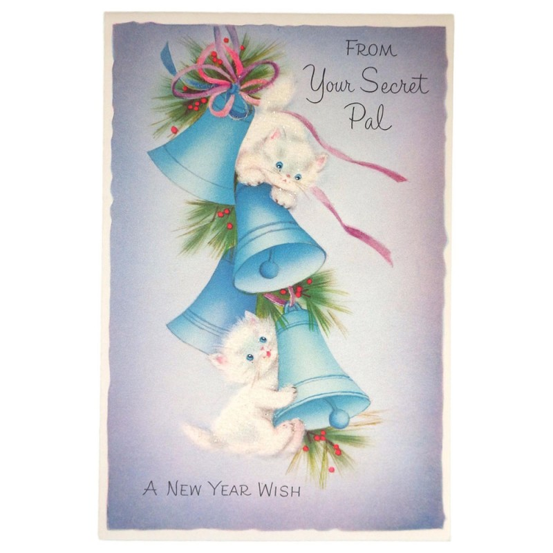 Unused Kittens Secret Pal New Year Vintage Norcross Greeting Card