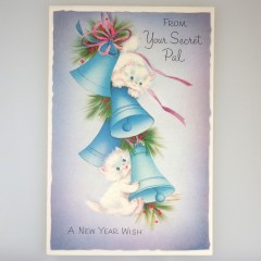 Unused Playing Kittens Secret Pal New Year Vintage Norcross Greeting Card
