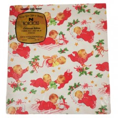 Vintage Norcross Christmas Babies Gift Wrap Wrapping Paper  - 2 Unused Jumbo Sheets