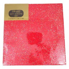 Vintage 1960s Red Glitter SM Art Gift Wrap Wrapping Paper - 2 Unused Sheets