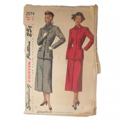 Uncut 1940s Simplicity 2574 Misses 2pc Suit Vintage Sewing Pattern