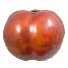 Julia Phillips Signed Organic Raku Pottery Melon Vase in Burnt Orange
