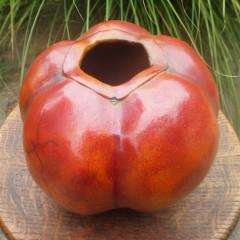 Julia Phillips Signed Organic Raku Pottery Melon Vase in Burnt Orange