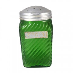 Owens Illinois Vintage Forest Green Glass Ribbed Hoosier Sugar Shaker