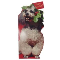 Large Poodle Vintage Christmas Card - Unused Hallmark Christmas Tales