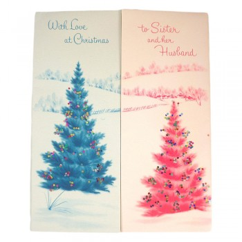 Norcross Unused Vintage Christmas Card to Sister and Her Husband