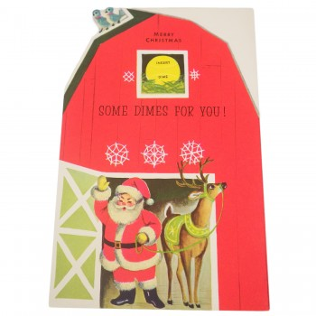 10-Dime Vintage Fold Out Gibson 1950s Money Santa Christmas Card - Unused