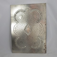 Scalloped Vintage Punched Tin Cabinet Panel with Diamond Center