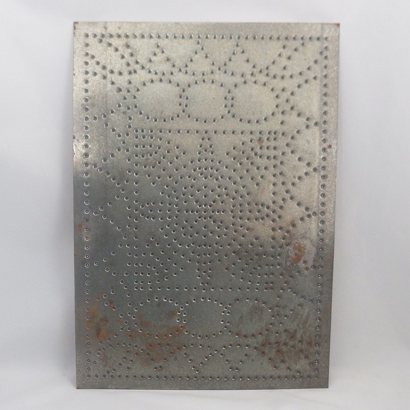 ... Arch And Ring Chain With Flower Vintage Punched Tin Cabinet Panel ...