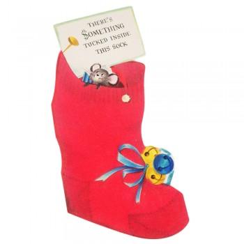 Red Flocked Christmas Stocking Vintage Hallmark Slim Jims Money Holder Greeting Card - Unused
