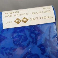Blue Velvety Flocked Roses Tie Tie Vintage Gift Wrap Paper - 2 Sheets 20x26 - NOS