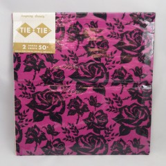 Fucsia Velvety Flocked Roses Tie Tie Vintage Gift Wrap Paper - 2 Sheets 20x26 - NOS