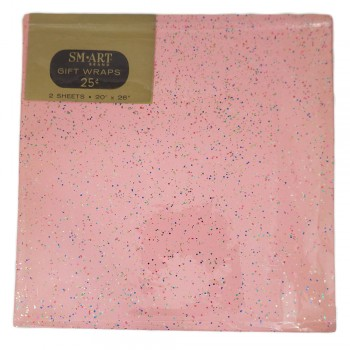 Vintage 1960s Pink Glitter SM Art Gift Wrap Wrapping Paper - 2 Unused Sheets