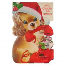 Vintage Norcross Christmas Card Puppy Dog and Mouse on Telephone to Grandma and Grandpa