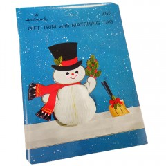 Hallmark Vintage Honeycomb Snowman in Top Hat Gift Trim and Tag - NOS
