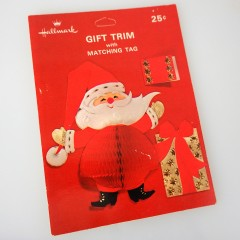 Hallmark Vintage Honeycomb Santa with Gifts Gift Trim and Tag - NOS