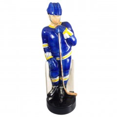 1971 Paul Lux St Louis Blues Hockey Decanter Colonial China, Vintage Figural Bourbon Whiskey Pottery Decanter Bottle, Empty