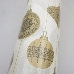 1960s Vintage Christmas Wrapping Paper Roll, Gold & Black Ornaments