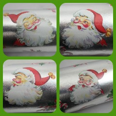 Vintage Santa Face Christmas Wrapping Paper Roll with Four Santa Faces