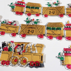 Vintage Merry Happy Line Express 2 U Christmas Wrapping Paper