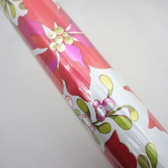 Vintage Foil Poinsettia and Mistletoe Christmas Wrapping Paper Roll