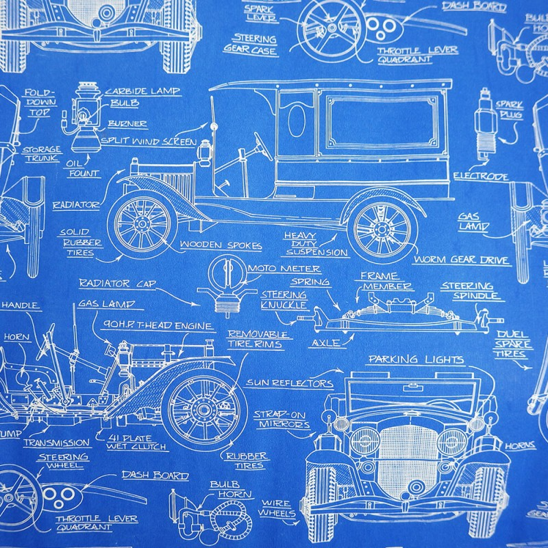 1950s Vintage Car Blueprint Gift Wrapping Paper